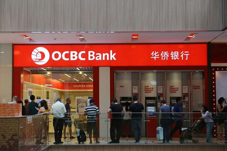 OCBC Bank branch at Paya Lebar Square. The bank reported an earnings drop in the second quarter, as insurance income slipped amid the choppy investment market.
