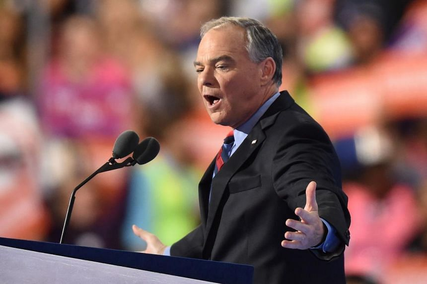 Tim Kaine speaks during the Democratic National Convention at the Wells Fargo Center in Philadelphia, Pennsylvania, July 27.