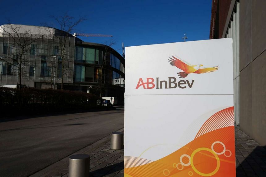 The AB InBev logo at the entrance of the brewery group's headquarters, in Leuven, on Feb 25, 2016.