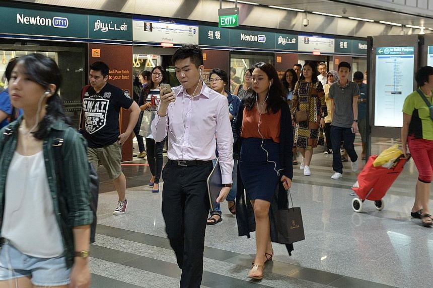 The average daily weekday ridership on the Downtown Line has tripled from 83,000 last October, before its second stage opened, to more than 250,000 in the middle of this month, said the LTA.