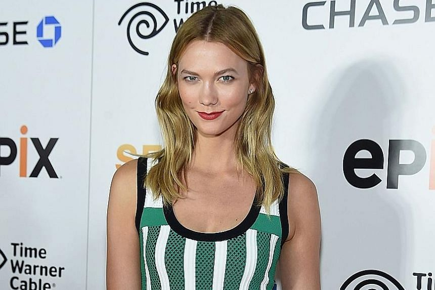 Model Karlie Kloss sports a centre parting in her hair at the premiere of the documentary, Serena, in New York City last month.