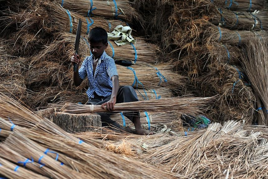 A young labourer chopping coconut leaves and sticks at a broomstick production facility in Chennai. A 2015 report by the International Labour Organisation put the number of child workers in India aged five to 17 at 5.7 million.