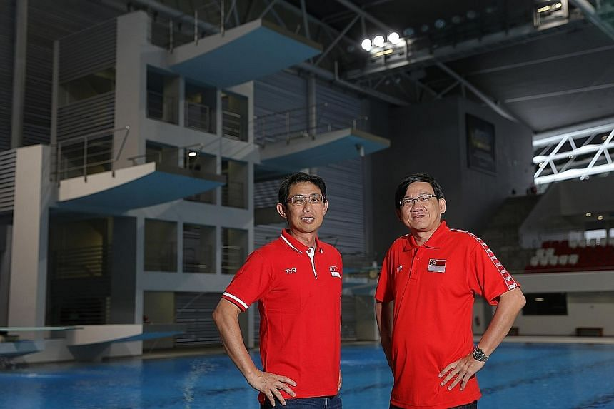 Top: William Lee (left) and Steve Chew (right) both started officiating at diving and synchronised swimming competitions respectively about seven years ago because their children were involved in those sports. Above: Singapore will be represented in