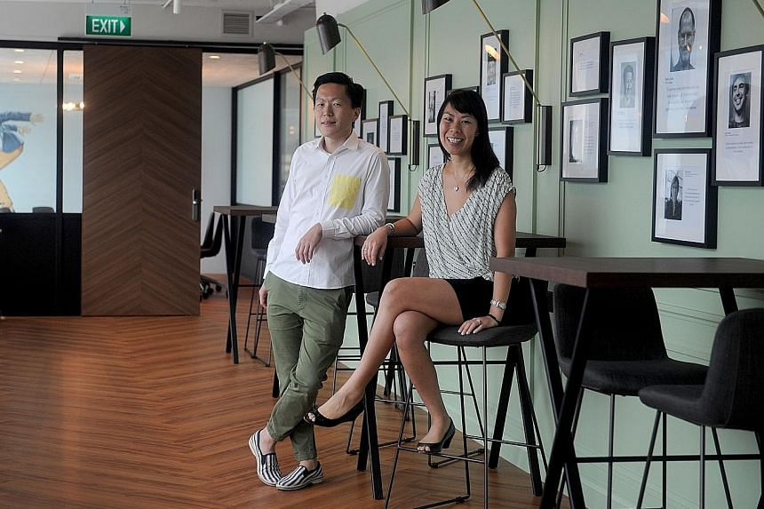"Collision 8 founders Michelle Yong and John Tan. Collision 8 is different from other co-working spaces in that it is a private members' club. ""We select members on two criteria: their desire to innovate, and their desire to collaborate,"" says Ms Yong"