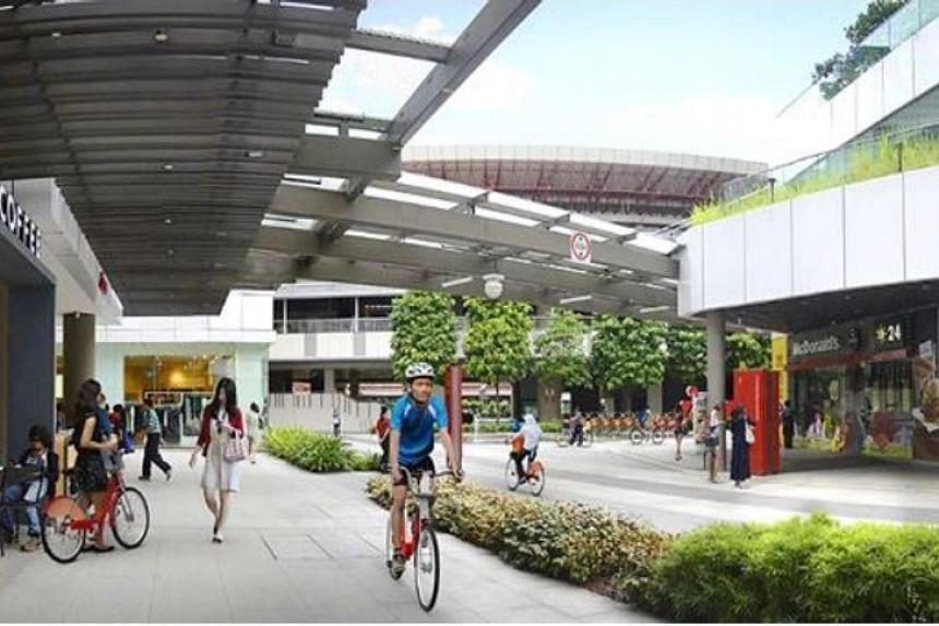 An artist's impression of the proposed bicycle-sharing infrastructure in the Jurong Lake District.