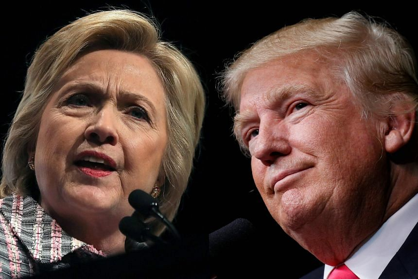 "Hillary Clinton's (left) campaign lashed out at Donald Trump for encouraging Russia to trawl the former secretary of state's emails, describing his comments as a ""national security issue""."