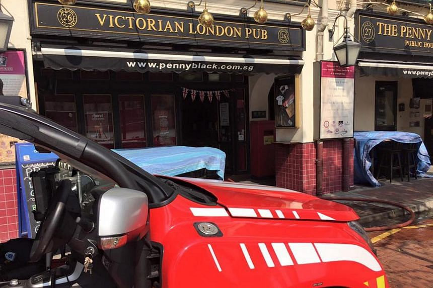 The fire broke out in the second-floor kitchen of English pub The Penny Black.