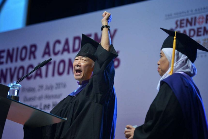 Seniors graduating from the second batch of PA's Senior Academy at the Nanyang Polytechnic Auditorium, on July 29, 2016.