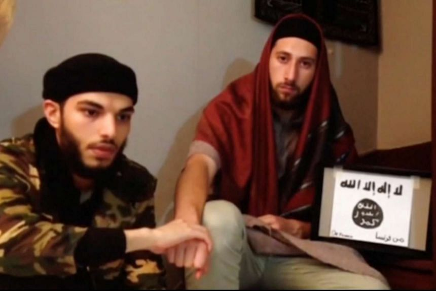 This screengrab from a video shows the two men, Abdel-Malik Nabil Petitjean and Adel Kermiche, in a video released on July 28, 2016.
