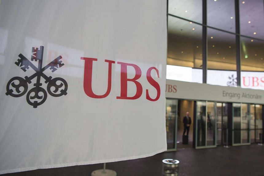 The UBS logo on a banner in Basel, Switzerland, on May 10, 2016.