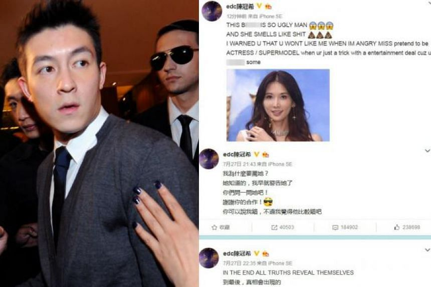 Edison Chen (left) insults Chiling on Weibo.