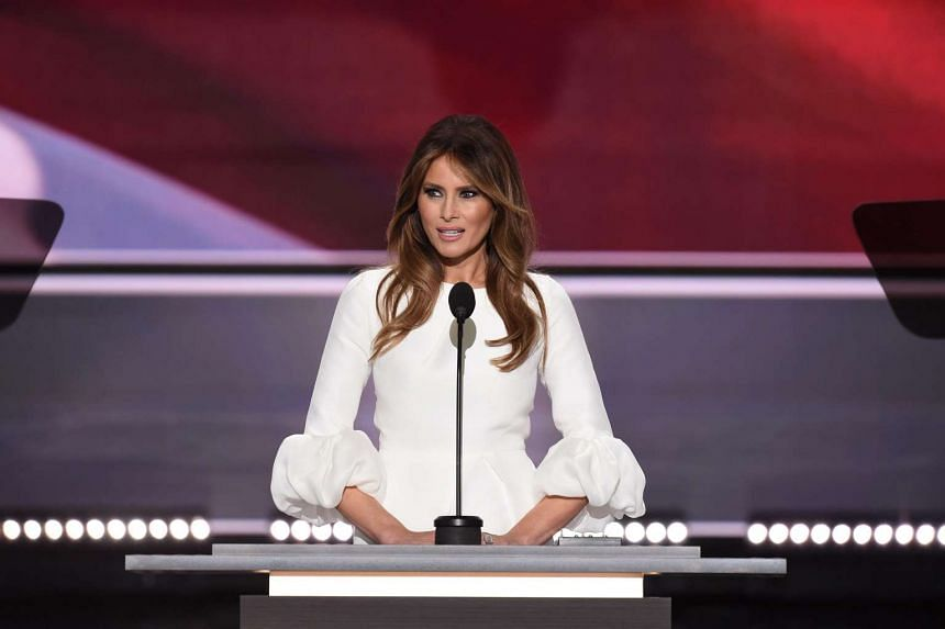 Melania Trump, wife of Republican presidential candidate Donald Trump, as she addresses delegates on the first day of the Republican National Convention at Quicken Loans Arena in Cleveland, Ohio.