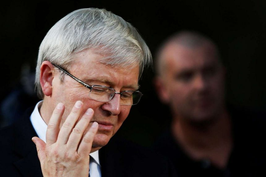Kevin Rudd responding to the media during his election campaign in September 2013.