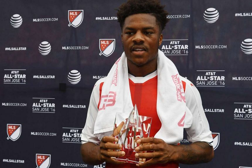 Arsenal forward Chuba Akpom is presented with the game MVP award after the 2016 MLS All-Star Game at Avaya Stadium on July 28.