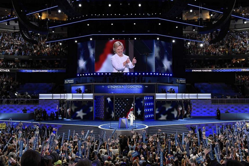 Hillary Clinton gives the thumbs-up at the end of the fourth and final night of the Democratic National Convention.