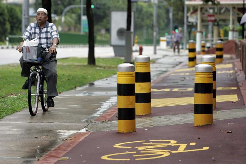 A cycling path along Pasir Ris Dr 10 which is badly constructed because the bollards impede cyclists' movement.