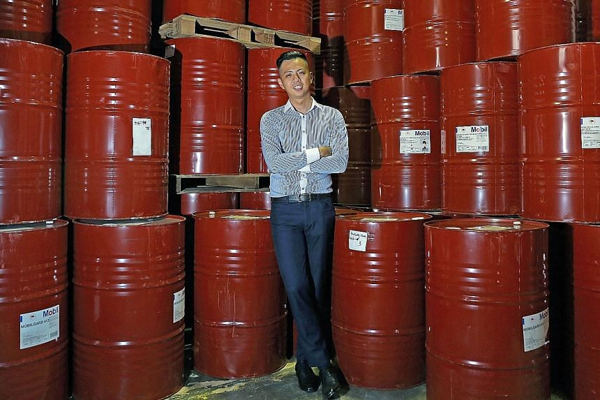 """For Mr Wong, who left a job in solar film sales to sell lubricants to international shipping firms, nothing matches the satisfaction of closing a deal. He said: """"It's very rewarding, the sense of accomplishment when you get them to change their minds"""