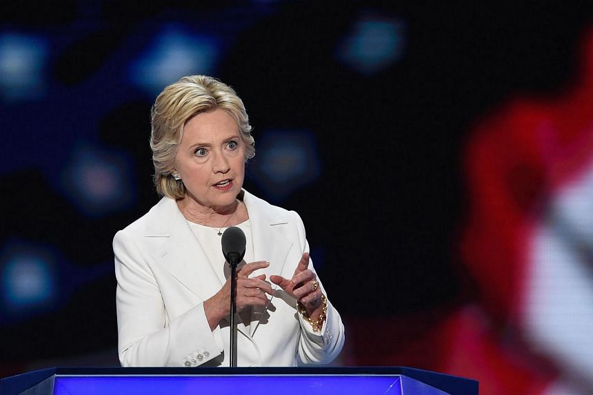 Democratic presidential nominee Hillary Clinton addresses delegates during the fourth and final night of the Democratic National Convention at Wells Fargo Center on July 28 in Philadelphia, Pennsylvania.