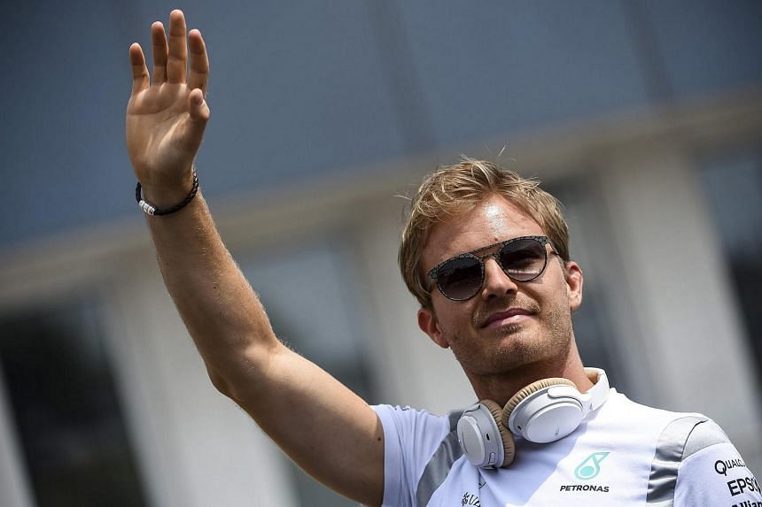 German Formula One driver Nico Rosberg of Mercedes AMG GP attends the drivers' parade at the Hungaroring circuit on July 24.
