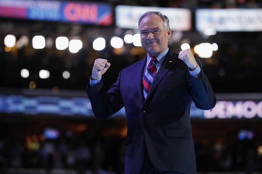US Vice-President nominee Tim Kaine acknowledges the crowd after delivering remarks on the third day of the Democratic National Convention.