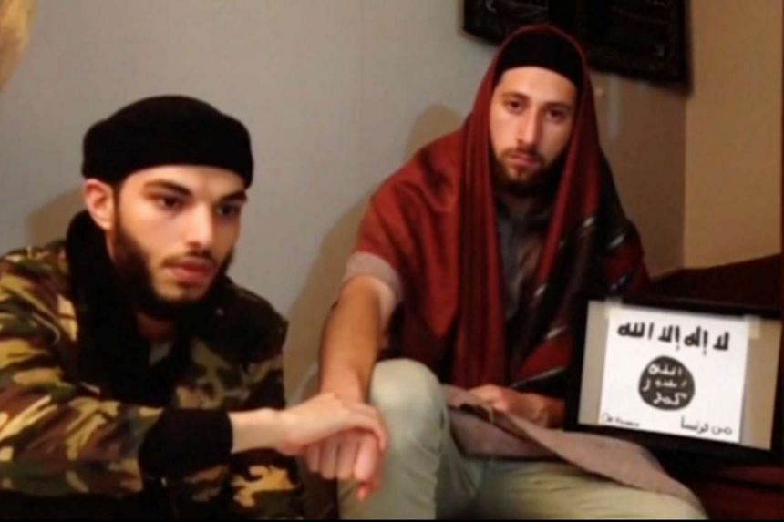 Church killers Adel Kermiche (left) and Abdel-Malik Nabil Petitjean in a still from a video released July 28, 2016.