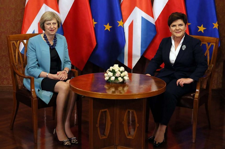 British Prime Minister Theresa May (left) and Polish Prime Minister Beata Szydlo meeting in Warsaw on July 28, 2016.