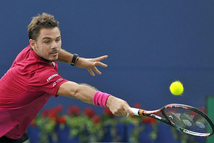 Stan Wawrinka in action against Jack Sock of the US during the third round of the Rogers Cup Men's Singles tennis tournament in Toronto, Canada on July 28.