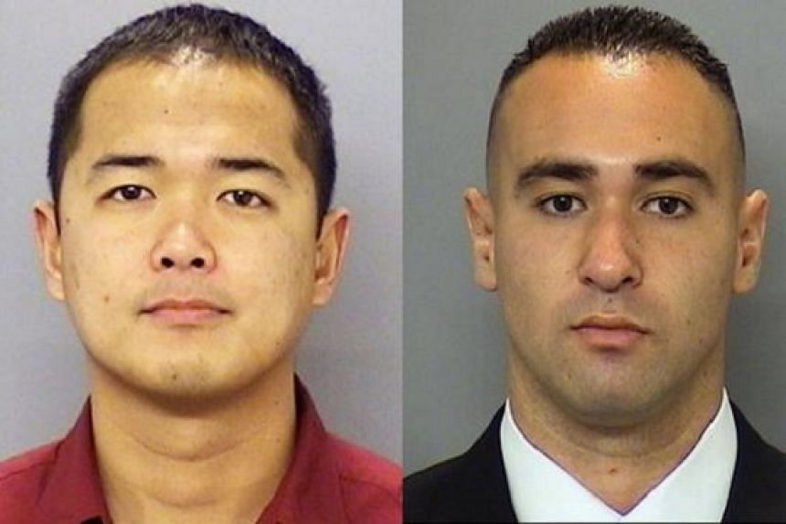 An undated handout combo photo provided by the San Diego Police Department showing San Diego Police officer Jonathan DeGuzman (left), who was killed in a shooting incident on July 28, and San Diego Police officer Wade Irwin, who was injured in the in