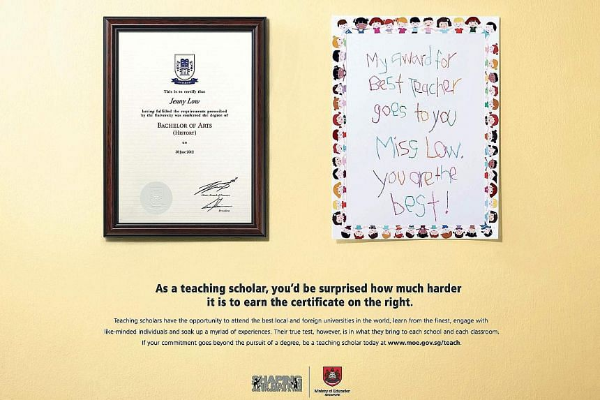 """The winning campaign for MOE by the Up & Up advertising agency juxtaposes a teacher's degree with a pupil's handmade """"award"""" certificate."""