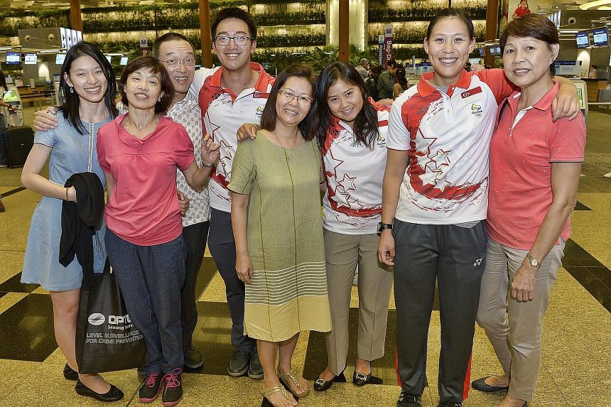 May Schooling (left) and family members of sailors Colin Cheng, Griselda Khng and Sara Tan (above) will be in Rio to support their children at the pinnacle of their sporting careers.