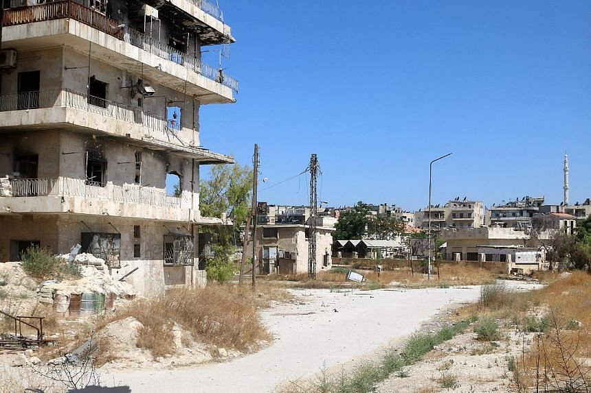 A view of what is believed to be the road that civilians in Aleppo must use to leave rebel-held areas. The Syrian government has told residents to leave the city as the army cuts off supply routes to the east.