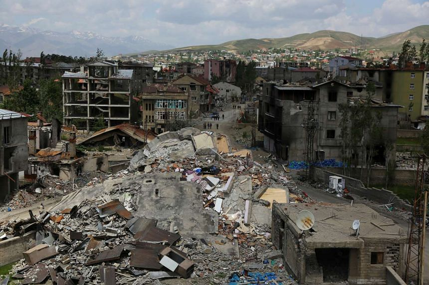 Buildings damaged by clashes between security forces and Kurdish militants in the southeastern Hakkari province on May 30, 2016.