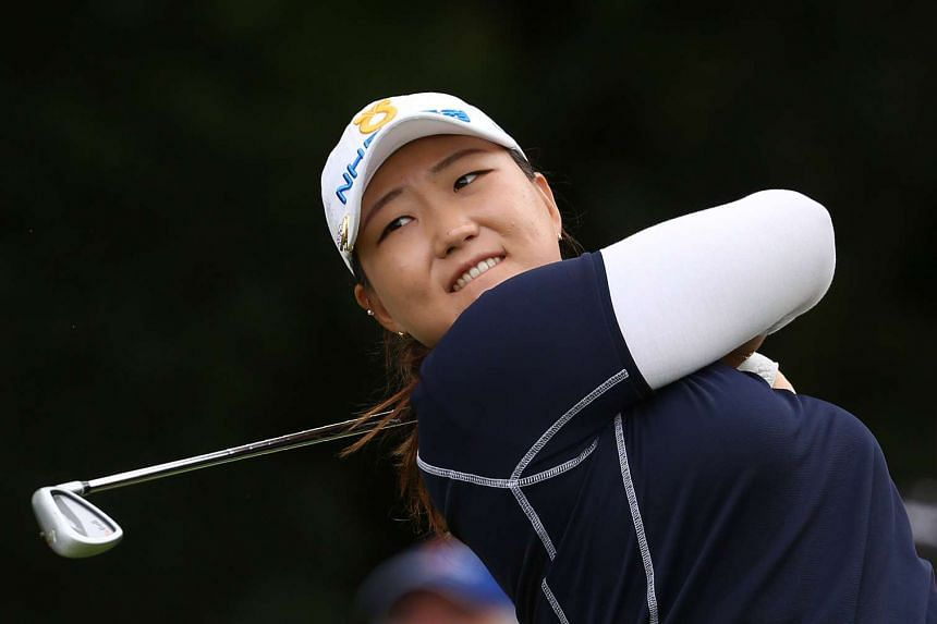 South Korea's Mirim Lee tees off on the 17th hole on the second day of the British Open.