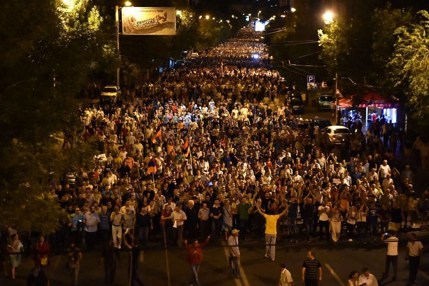 Protestors in support of initiators of the occupation of the Patrol-Guard Service Regiment of Erebuni district in Yerevan, Armenia on July 26, 2016.