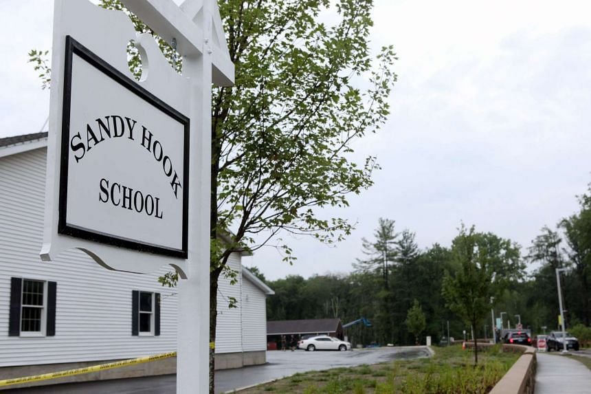 The sign for the new Sandy Hook Elementary School in Newtown, Connecticut.