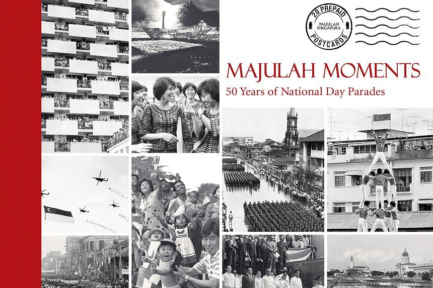 Among the postcards in Majulah Moments (above) is one of spectators at the National Day Parade in 1985 in Guillemard Road who were thrilled by 15 planes from the Singapore Air Force flying by.