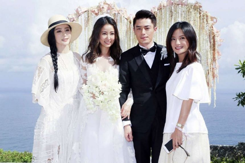 Newlyweds Ruby Lin and Wallace Huo with Fan Bingbing (left) and Vicki Zhao.
