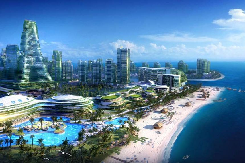An artist's impression of the Forest City, a mixed-use development spanning about 1,370 hectares on four man-made islands in the Johor Strait.