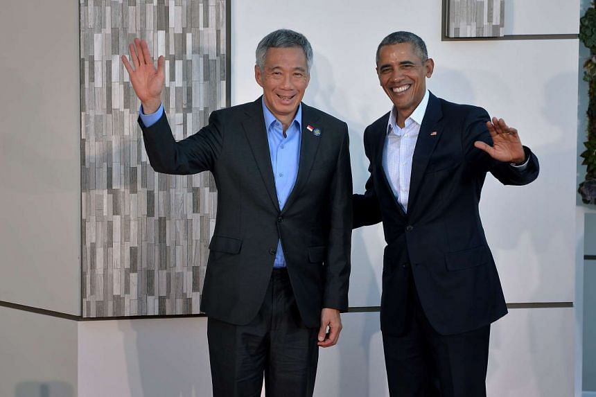 Prime Minister Lee Hsien Loong and US President Barack Obama at the US-Asean summit at Sunnylands Estate in California on Feb 15, 2016.