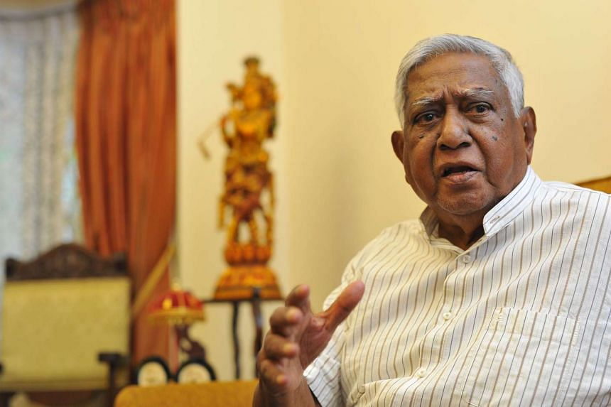 Former president S R Nathan at an interview in June 2015.