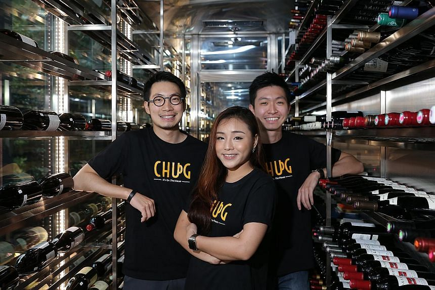 Chug app founders (from left) Eugene Ng, Fiona Chan and Erwin Ng.