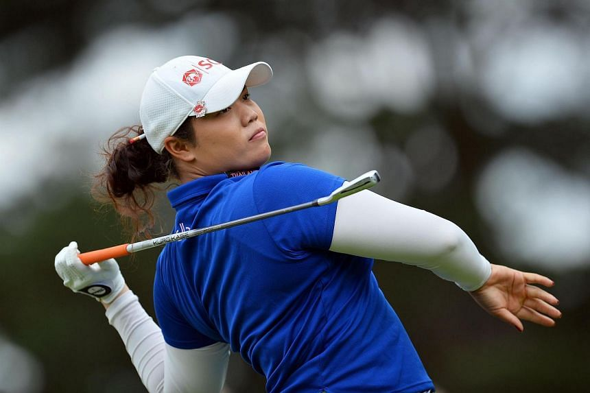 Thailand's Ariya Jutanugarn watches her drive from the fourth tee on the third day of the 2016 Women's British Open Golf Championships, on July 30.
