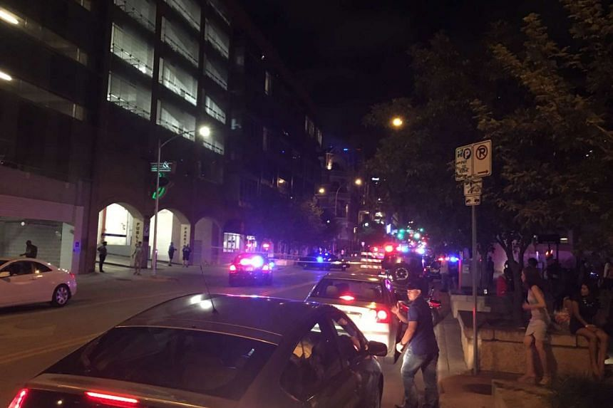 Police at the scene of a shooting in Austin, Texas, where multiple victims were reportedly injured and one killed.