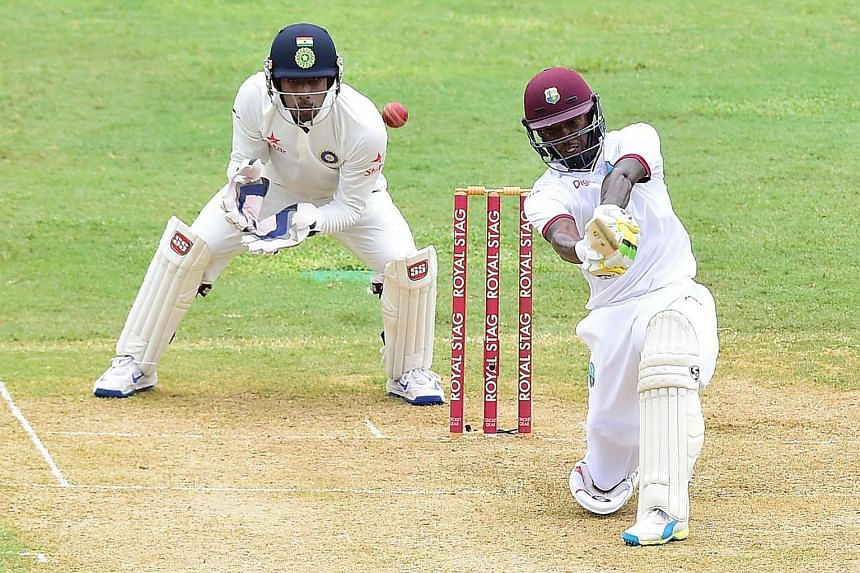 Jermaine Blackwood of the West Indies connects for a six off a delivery by Indian bowler Amit Mishra in the 20th over on July 30, on the first day of the 2nd Test between India and the West Indies.