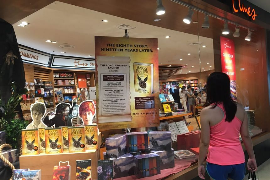 Harry Potter and The Cursed Child on display at Times, Waterway Point on July 31.