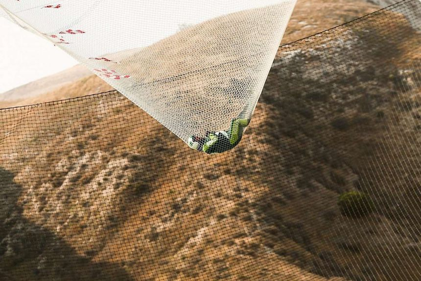 Skydiver Luke Aikins landing safely in the net after his jump.