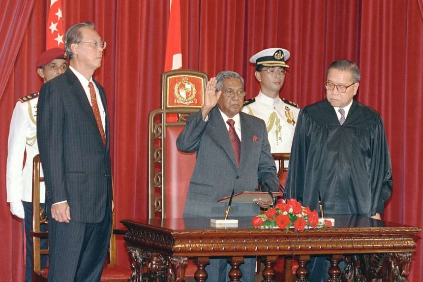 (From left) Mr Goh Chok Tong, Mr S R Nathan and Chief Justice Yong Pung How during the swearing-in ceremony in the State Room at the Istana in September 1999.