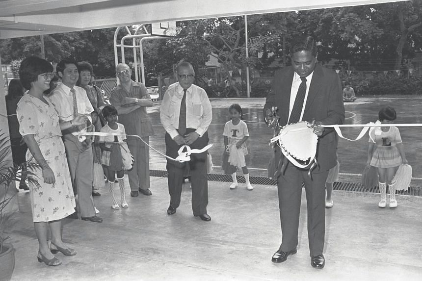 Then Straits Times Press executive chairman S R Nathan opening a charity fair organised by the Singapore Council of Social Service and The Times Organisation in September 1983.
