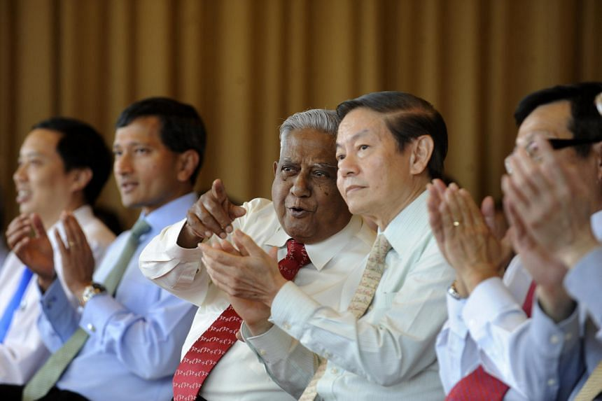 President S R Nathan (third from left) is the guest of honour at the launch of an encyclopaedia on Singapore's biodiversity at the National University of Singapore in July 2011.