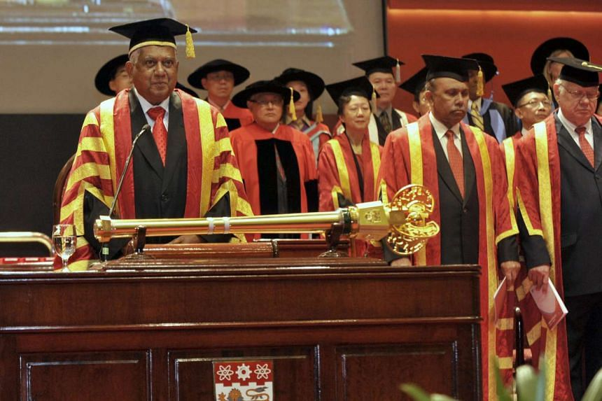 President S R Nathan (left) at a convocation ceremony at Nanyang Technological University in July 2011, during which he witnessed the inauguration of its third president.